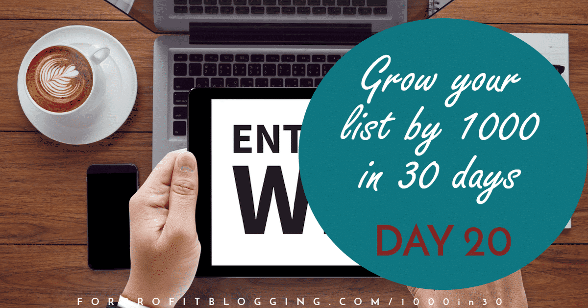 1000in30 Day 20  Host a Contest/Giveaway